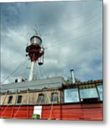Lighthouse-boat Metal Print