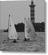 Lighthouse Boats Metal Print