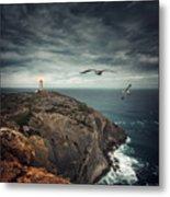 Lighthouse Cliff Metal Print