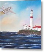 Lighthouse Fly By Metal Print