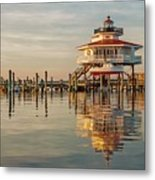 Lighthouse Glow And Reflection  Metal Print