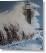 Lighthouse In A Storm Metal Print by David Hawkes