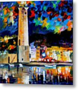 Lighthouse In Crete - Palette Knife Oil Painting On Canvas By Leonid Afremov Metal Print