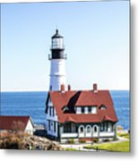 Lighthouse In Maine Metal Print