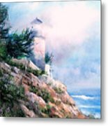Lighthouse In The Mist Metal Print
