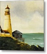 Lighthouse In Oil Metal Print
