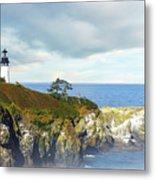 Lighthouse On A Jetty. Metal Print