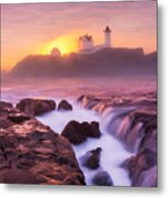 Lighthouse On Fire Metal Print