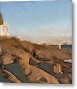 Lighthouse On The Ocean Metal Print