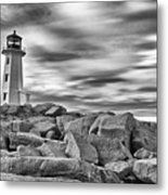 Lighthouse Peggys Cove - Black And White Metal Print