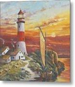 Lighthouse Sunset Metal Print
