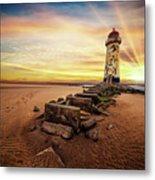 Lighthouse Sunset Wales Metal Print