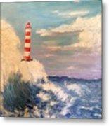 Lighthouse Under Lavender Sky Metal Print