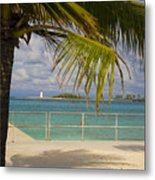 Lighthouse Under Palm In Bahamas Metal Print