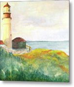 Lighthouse-watercolor Metal Print