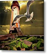 Lighthouse With Seagulls Metal Print