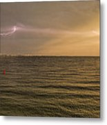 Lightning And Rainbow, Fort Myers Beach, Fl Metal Print