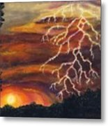 Lightning At Sunset Metal Print