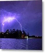 Lightning Bolt Cracks Over Lake Wendouree Metal Print