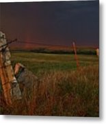 Lightning Bolt Over Post Rock Country, North Central, Kansas Metal Print