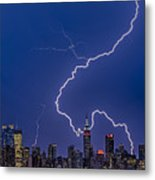 Lightning Bolts Over New York City Metal Print