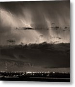 Lightning Cloud Burst Boulder County Colorado Im39 Sepia Metal Print