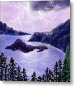 Lightning In Purple Clouds Metal Print