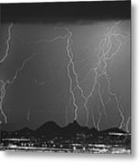 Lightning Long Exposure Metal Print