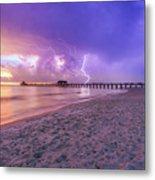 Lightning Naples Pier Metal Print