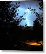 Lightning On The Distant Mountains Metal Print