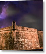 Lightning Over Castillo De San Marcos National Monument Metal Print