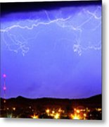 Lightning Over Loveland Colorado Foothills Panorama Metal Print