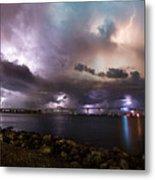 Lightning Over The Sanibel Bridge Metal Print