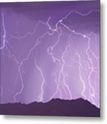Lightning Over The Mountains Metal Print