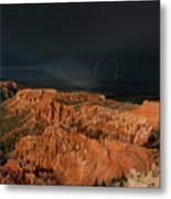 Lightning Rainbow Over Hoodoos Bryce Canyon National Park Utah Metal Print