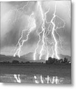 Lightning Striking Longs Peak Foothills 4cbw Metal Print