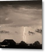 Lightning Thunderstorm July 12 2011 Strikes Over The City Sepia Metal Print