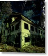 Lightnings On Abandoned Hotel On Liguria Mountains High Way - Fulmini Su Hotel Abbandonato Sull'av Metal Print