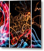 Lightpainting Triptych Wall Art Print Photograph 5 Metal Print