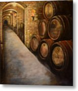 Lights In The Wine Cellar - Chateau Meichtry Vineyard Metal Print