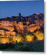 Lights On Pitigliano Metal Print