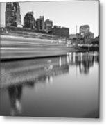 Lights Through The Nashville Skyline In Black And White Metal Print