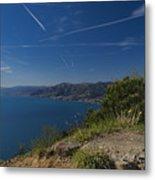 Liguria Paradise Gulf Panorama With Yellow Flowers Metal Print