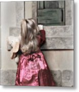 Liitle Girl In Red Metal Print