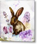 Lilac And Bunny Metal Print