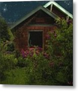 Lilac Cottage By Moonlight Metal Print