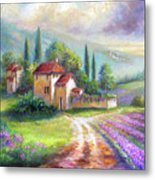 Lilac Fields In The Italian Countryside   Metal Print