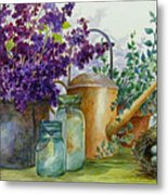 Lilacs And Ball Jars Metal Print