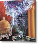 Lilacs And Candles Metal Print