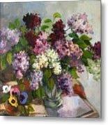 Lilacs And Pansies Metal Print